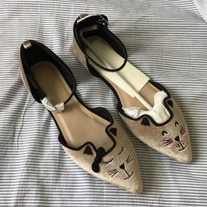 ASOS cat and kitty pointy flats, brand new!